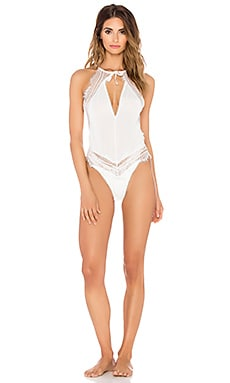 SKIVVIES by For Love & Lemons Isabelle Bodysuit in Ivory