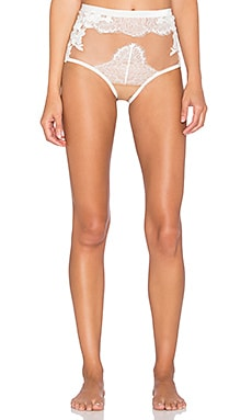 SKIVVIES by For Love & Lemons Flower Blossom Hi Waist Panty in Ivory