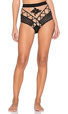 SKIVVIES by For Love & Lemons Delilah Hi Waist Panty in Black & Nude