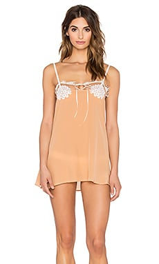SKIVVIES byFor Love & Lemons Elie Nightie in Peach Creme