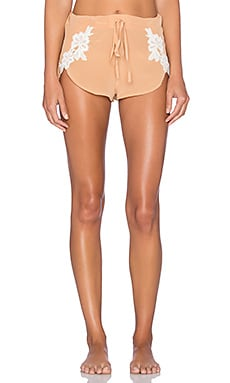 SKIVVIES by For Love & Lemons Adeline PJ Short in Peach Creme