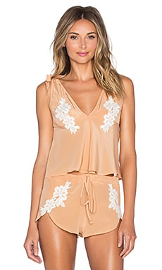 SKIVVIES by For Love & Lemons Adeline PJ Top in Peach Creme