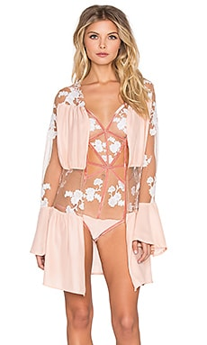 For Love & Lemons Darla Silk Robe in Blush