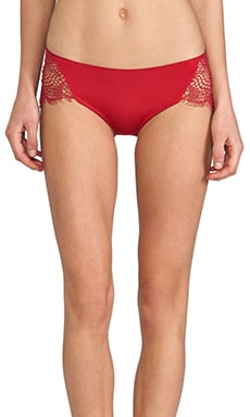 SKIVVIES by For Love & Lemons Bat Your Lashes Cheeky Pant in Red