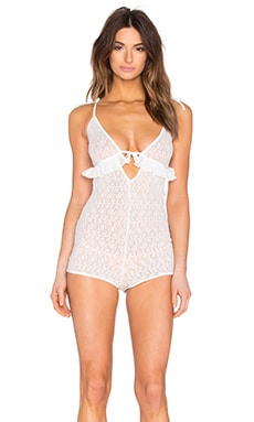 For Love & Lemons Cindy Romper in White