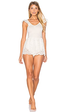 For Love & Lemons Daisy Romper in Ivory
