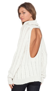 KNITZ by For Love & Lemons Solstice Backless Sweater in Ivory