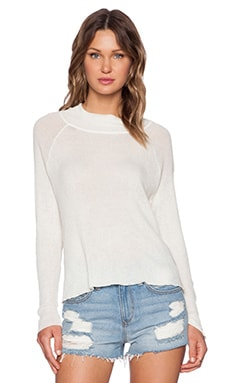 KNITZ by For Love & Lemons Raglan Kitten Turtleneck in Ivory