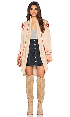 KNITZ by For Love & Lemons Denver Knit Cardigan in Peach & Rust