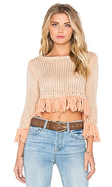 KNITZ by For Love & Lemons Denver Knit Crop Sweater in Peach & Rust