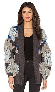 KNITZ by For Love & Lemons Marte Fringe Cardigan in Blue & Grey