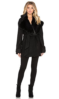 For Love & Lemons Ella Jacket with Faux Fur in Black