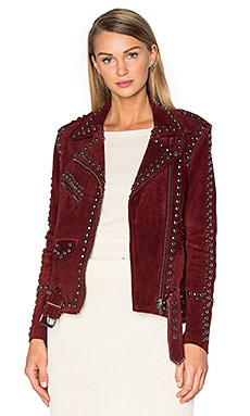 For Love & Lemons Jameson Suede Jacket in Burgundy
