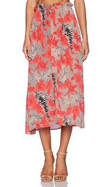 For Love & Lemons Mai Tai Maxi Skirt in Red Orchid Print