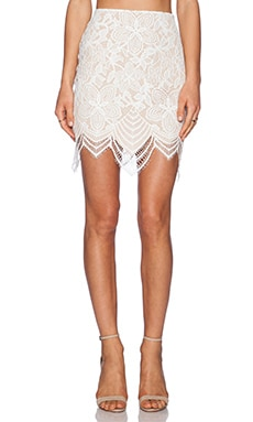 For Love & Lemons Guava Skirt in White & Nude