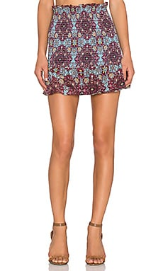 For Love & Lemons Clover Mini Skirt in Cornflower Blue Print