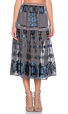Barcelona Midi Skirt in Black & Blue