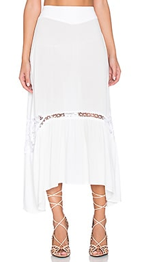 For Love & Lemons Penelope Midi Skirt in Ivory