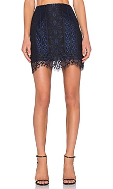 For Love & Lemons Lyla Mini Skirt in Navy & Black