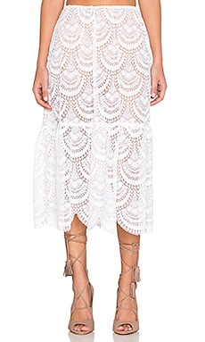 For Love & Lemons Rosalita Skirt in White