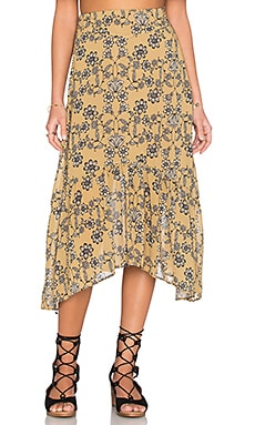 For Love & Lemons Pia Midi Skirt in Mustard