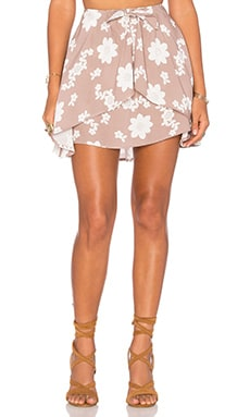 For Love & Lemons Sweet Jane Wrap Skirt in Coffee