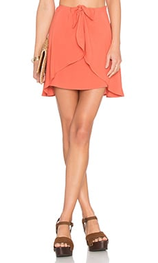 For Love & Lemons Sweet Jane Wrap Skirt in Terracotta