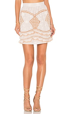 For Love & Lemons Winona Mini Skirt in Vintage Ivory