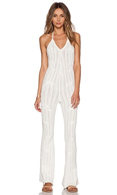 KNITZ by For Love & Lemons Forget Me Not Halter Jumpsuit in White