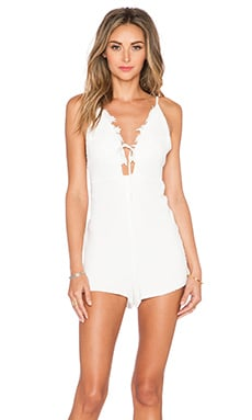 For Love & Lemons Garden Isle Romper in White