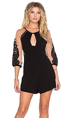 For Love & Lemons Valentina Romper in Black