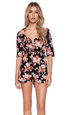 For Love & Lemons Wild West Romper in Floral Cord