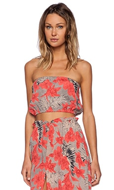 For Love & Lemons Mai Tai Bandeau Crop Top in Red Orchid Print
