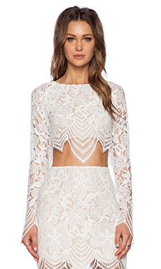 For Love & Lemons Guava Crop Top in White & Nude