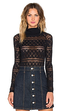 KNITZ by For Love & Lemons Stevie Knit Bodysuit in Black