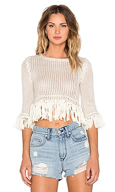 KNITZ by For Love & Lemons Denver Knit Crop Top in Ivory