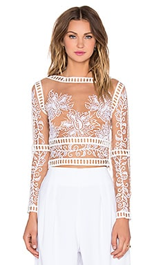 For Love & Lemons Desert Nights Crop Top in White & Nude