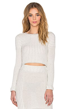 KNITZ by For Love & Lemons Switch Stripe Crop Top in Grey Stripe