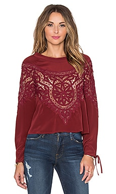 For Love & Lemons Santa Cruz Blouse en Rouge Bordeaux