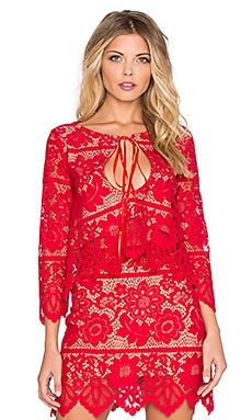 For Love & Lemons Gianna Crop Top in Hot Red