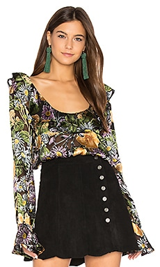Luciana Ruffle Blouse in Black Floral