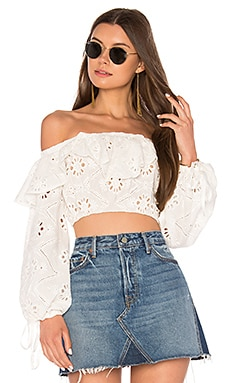 X REVOLVE Eyelet Top in White
