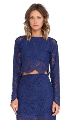 For Love & Lemons Midnight Crop Top in Sapphire