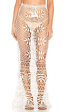 For Love & Lemons St. Tropez Crochet Skirt in Ivory