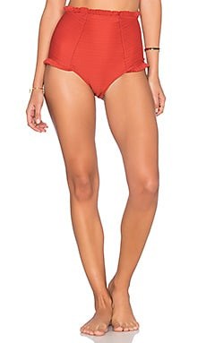 For Love & Lemons St. Lucia Hi Waisted Bikini Bottom in Terracotta