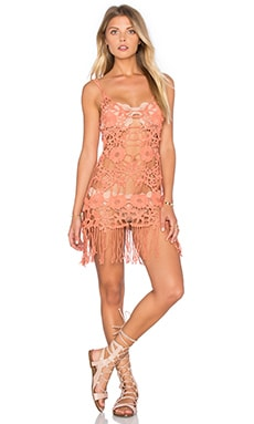 For Love & Lemons Valencia Crochet Dress in Dune