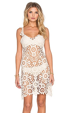 For Love & Lemons Riviera Crochet Cover Up in Ivory