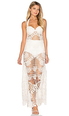 For Love & Lemons Maldives Crochet Dress in Ivory