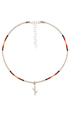 Frasier Sterling Wild West & Cactus Charm Choker in Silver Navajo