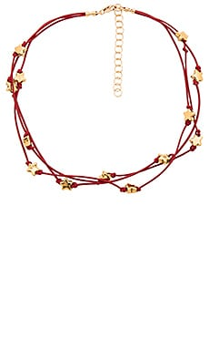 Frasier Sterling Desert Flower Choker in Red & Gold Stars